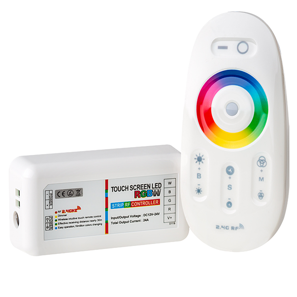 Smartphone or Tablet WiFi Compatible RGB+White Controller w/ RF Touch Color Remote