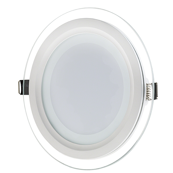 "6"" Round LED Recessed Light with Decorative Edge Lit Glass Panel Accent Light - 12W"