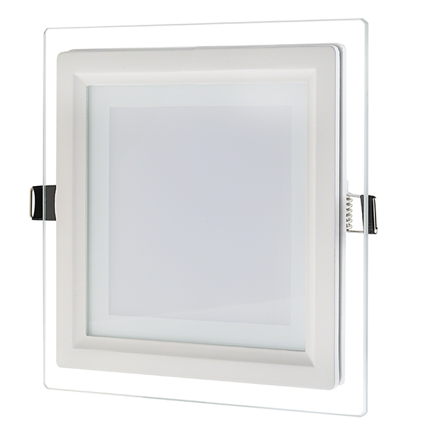 "6"" Square LED Recessed Light with Decorative Edge Lit Glass Panel Accent Light - 12W"