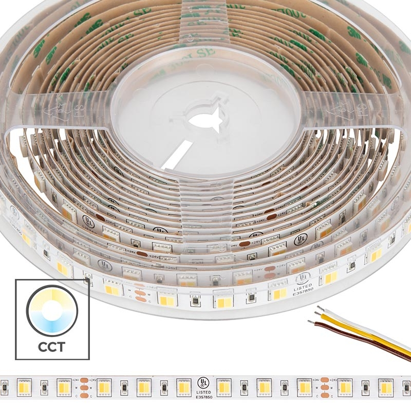 5050 Tunable White LED Strip Light/Tape Light - 24V - IP20 - 335 Lumens/ft - 2-in-1 Chip