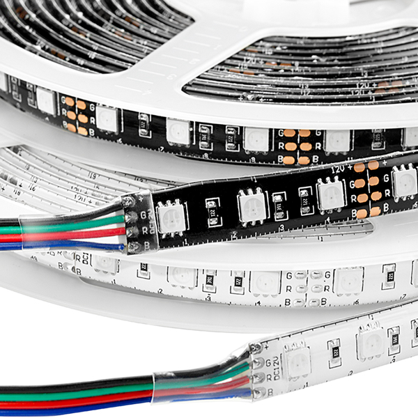 Outdoor LED Light Strips with Multi Color LEDs - Weatherproof LED Tape Light with 18 SMDs/ft., 3 Chip RGB SMD LED 5050