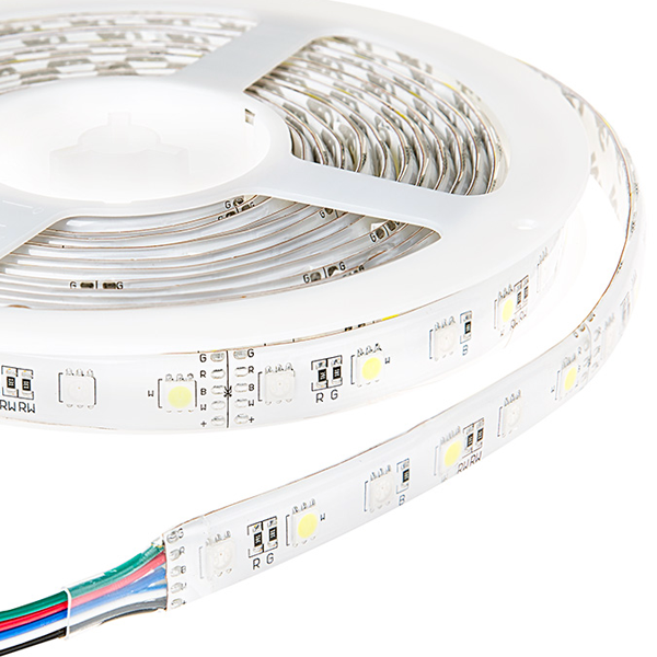 Outdoor LED Strip with Multi Color + White LEDs - Weatherproof LED Tape Light with 18 SMDs/ft., 3 Chip RGBW SMD RGB 5050
